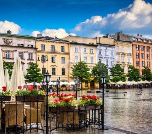 Rue dans le centre-ville de Cracovie