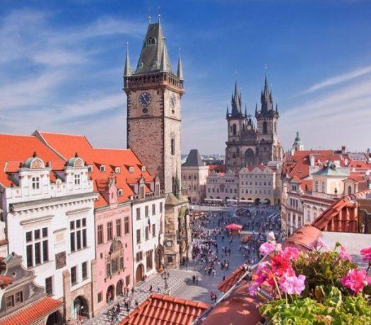 Vue panoramique sur le centre-ville de Prague