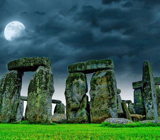 Stonehenge Ciel, Lune, Nuit, Pierres, Ruines